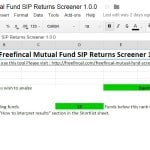 Freefincal Mutual Fund Screener with SIP Returns