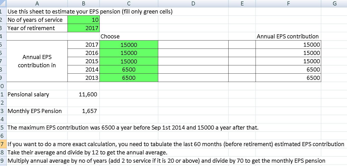 Revised EPS Pension Calculation Screenshot of the free Excel Download