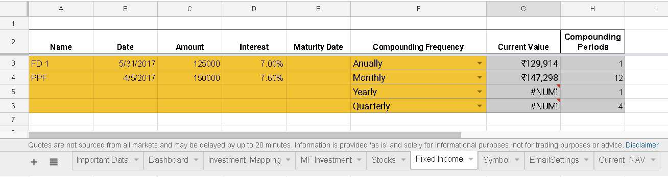 google spreadsheet portfolio tracker:fixed deposits