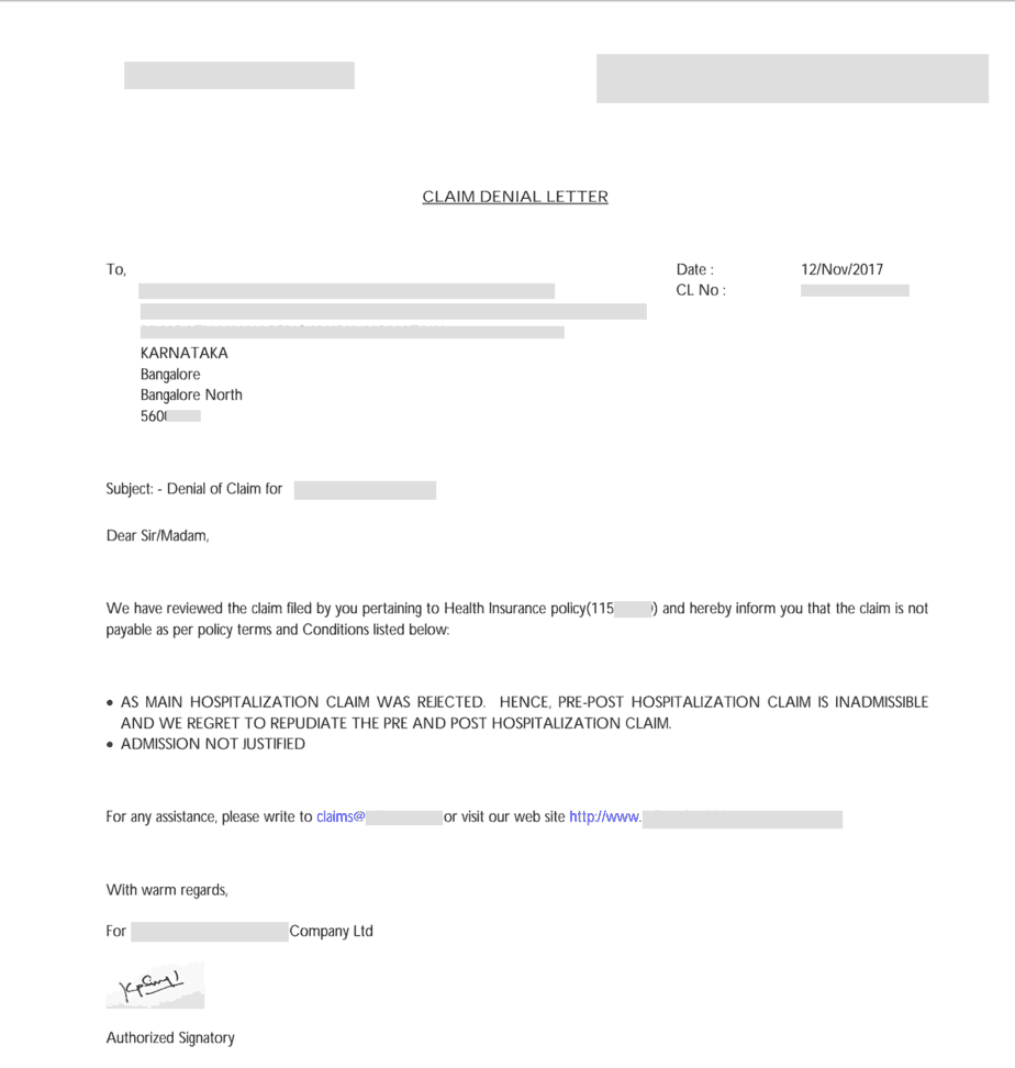 health insurance claim rejection letter