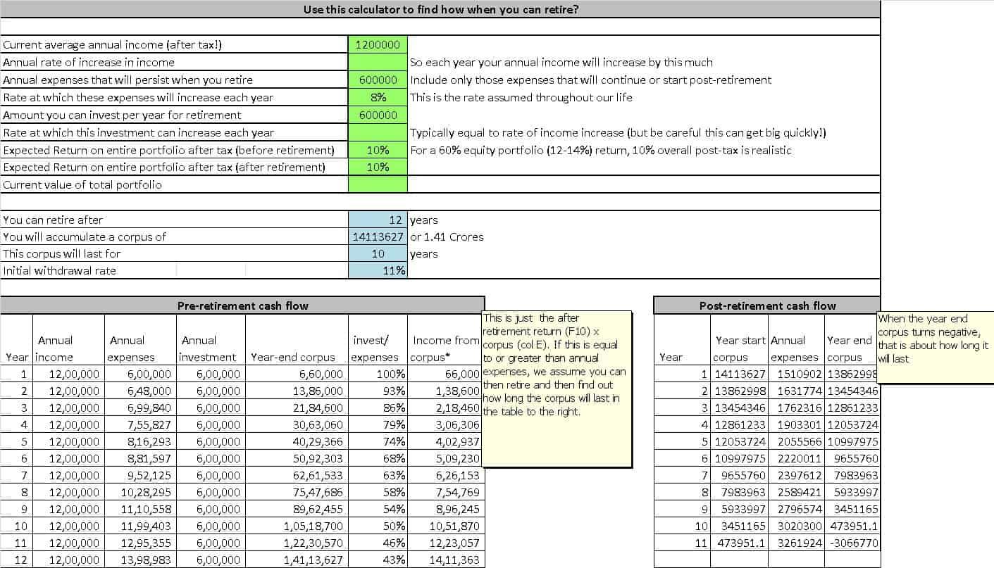 screenshot of the FIRE savings rate calculator