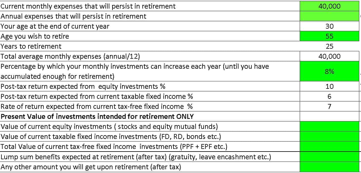 financial freedom plan inputs