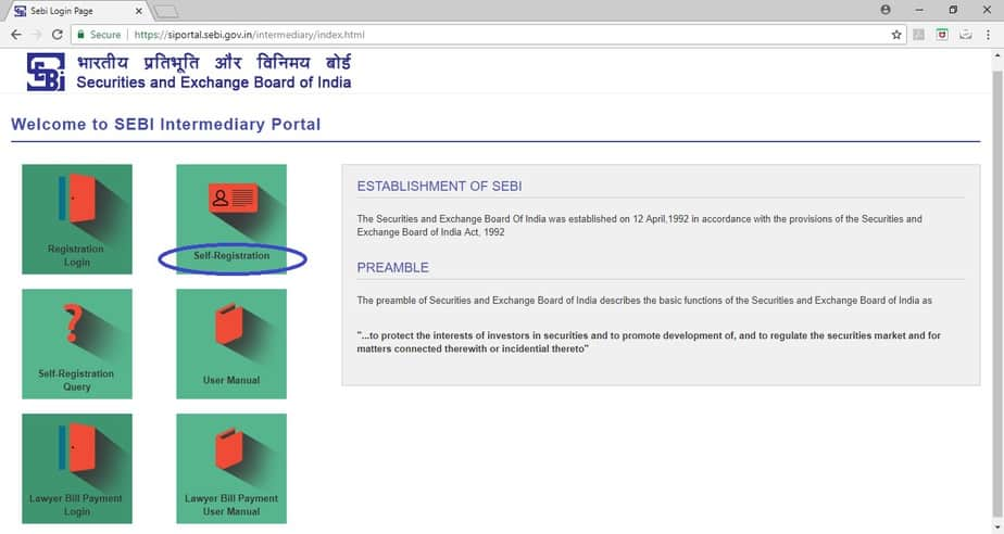 SEBI Registered Investment Adviser Application Process step 1