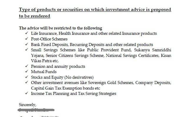 type of products or securities on which investment advice is proposed to be rendered