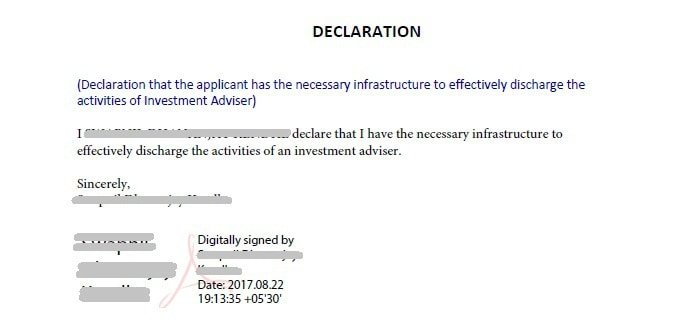 declaration of necessary infrastructure to effectively discharge the activities of Investment Adviser