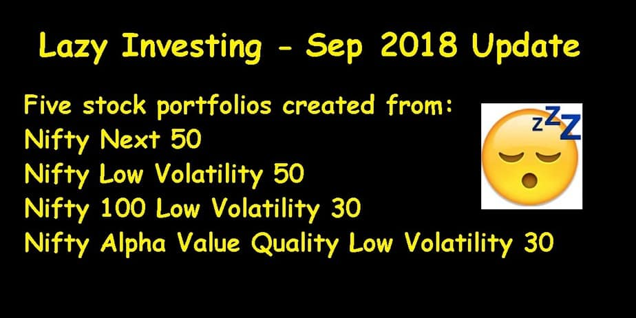 Lazy Investing: Five Test Stock Portfolios Sep 2018 Update