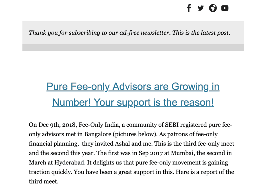 desktop version of the ad free newsletter