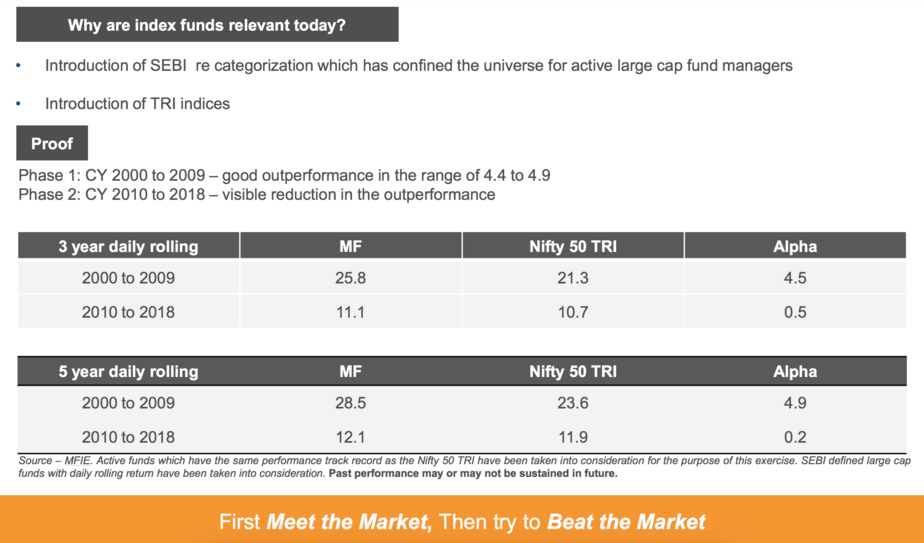 A screenshot from DSP Nifty 50 Index Fund & DSP Nifty Next 50 Index Fund presentation document