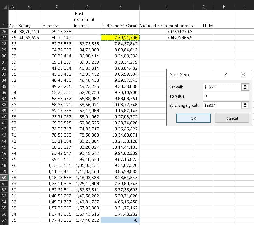 how to use goal seek to find retirement corpus in excel