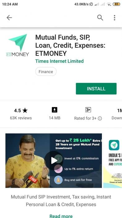 ETMOney online KYC sign up process step one