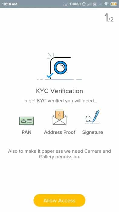 Uploading KYC Details in ETMoney
