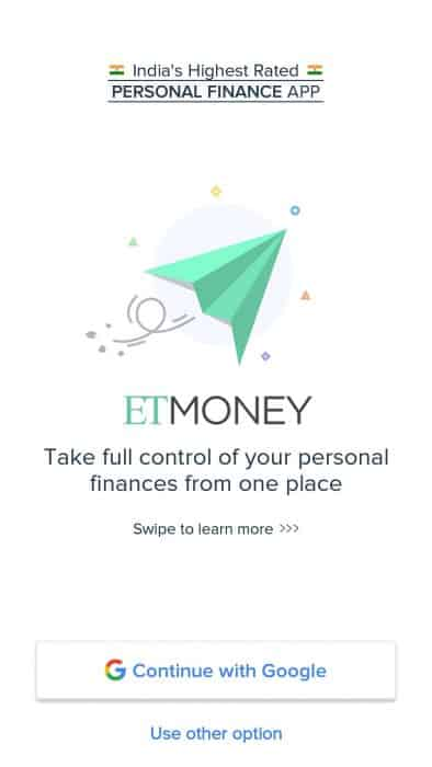 ETmoney login page