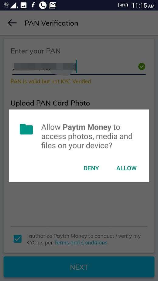 paytm money pan upload stage two screenshot
