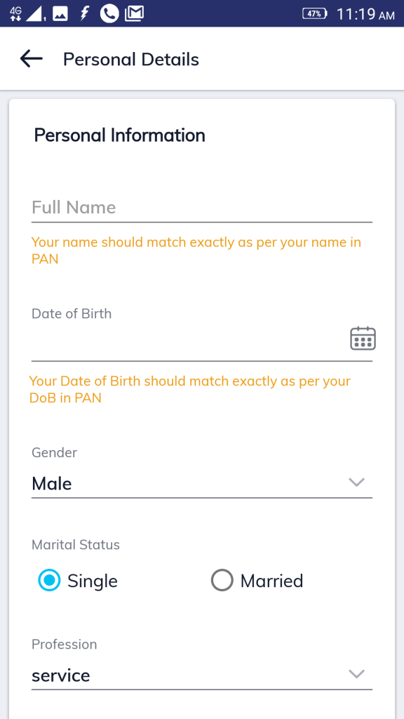 entering personal details for online KYC in Paytm Money