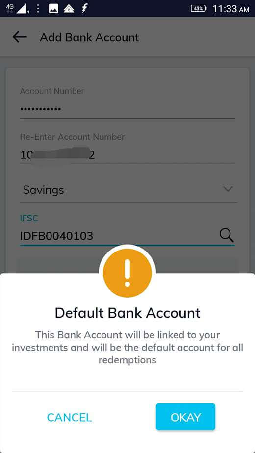 bank details for mutual fund KYC: screen one in Paytm money