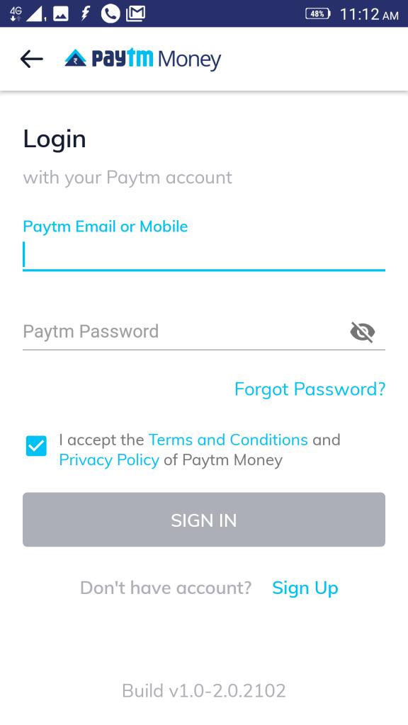 logging into Paytm money