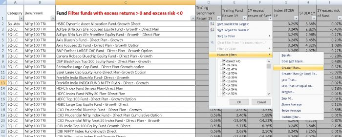 Excess-return vs excess risk screener: screenshot two