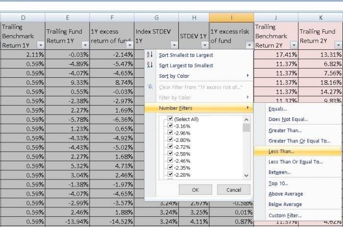 Excess-return vs excess risk screener: screenshot one